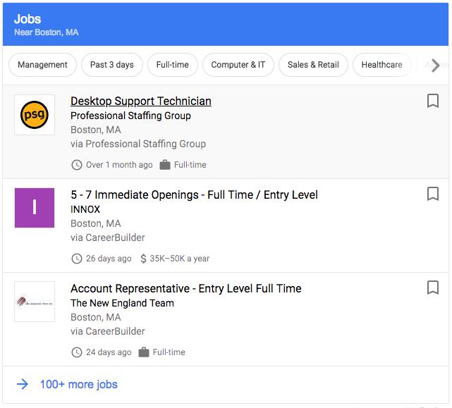 IT Jobs in Boston: Google for Jobs