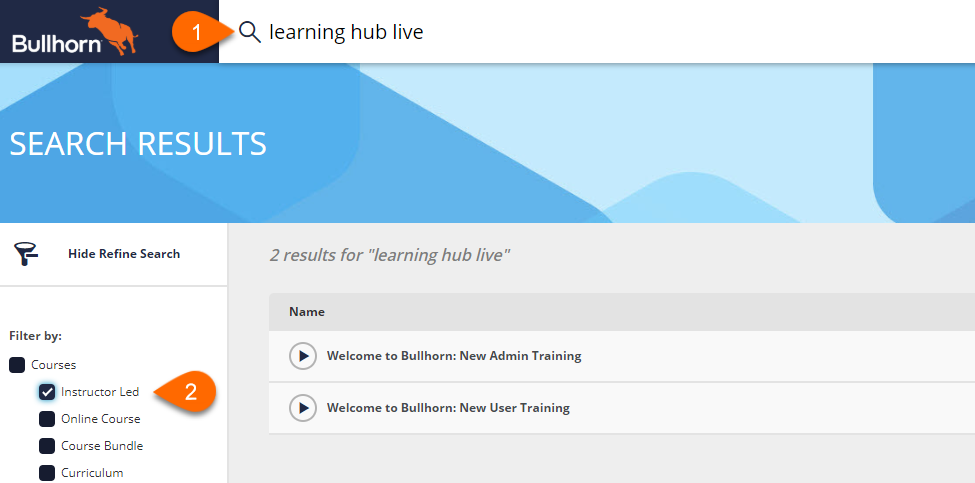 Learning Hub Live Navigation