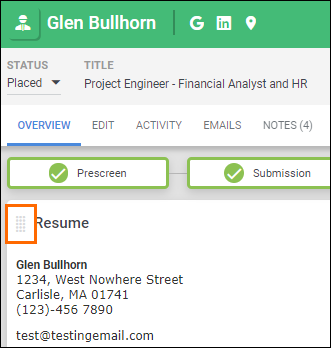Customize Bullhorn Record Overview