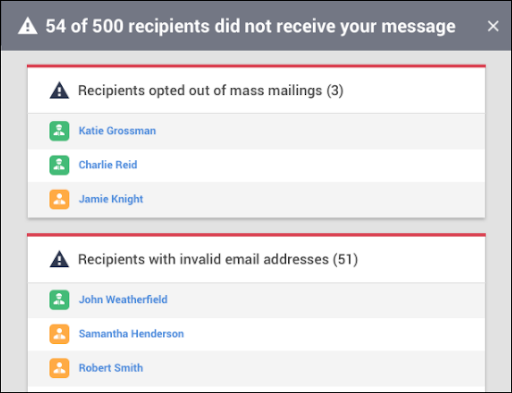 Bullhorn Mass Mailing Invalid Email