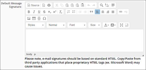 default message signature bullhorn